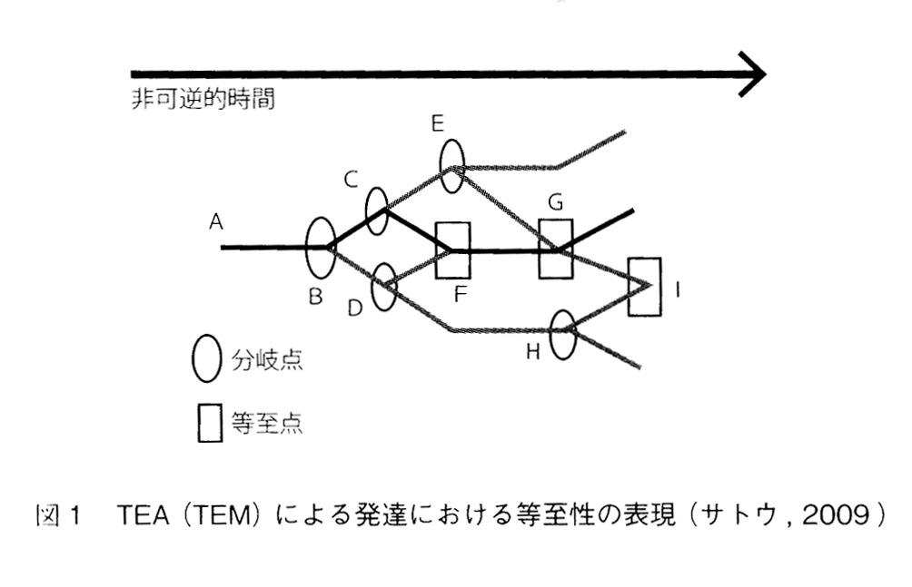図1:TEA(TEM)による発達における等至性の表現(サトウ,2009)